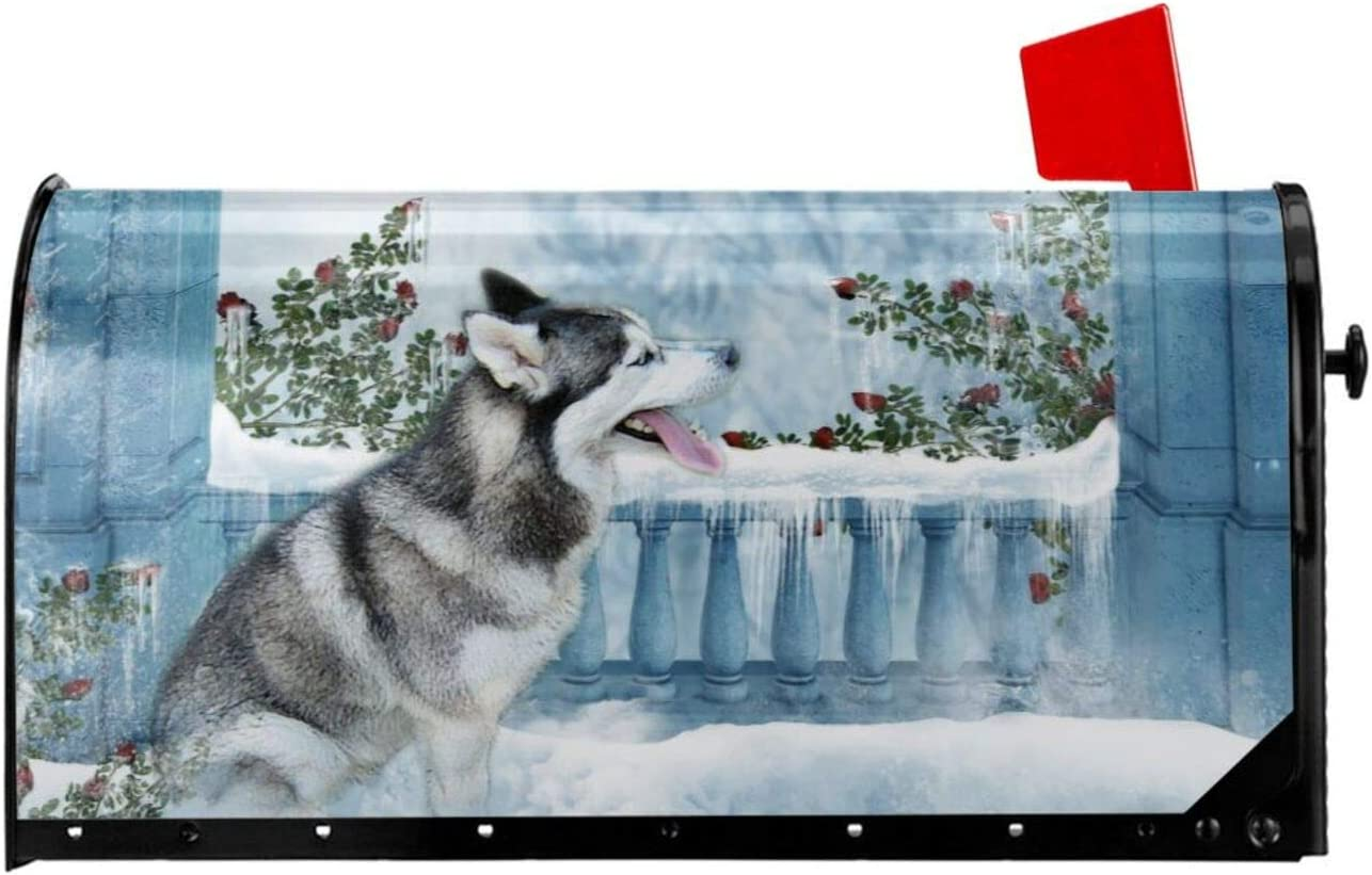"Winter Welcome Dog Mailbox Cover - Siberian Husky Magnetic Mailbox Wraps Snow Day Post Letter Box Cover Garden Home Christmas Decorations Post Box Cover Wrapped Standard Size 18"" x 21"""