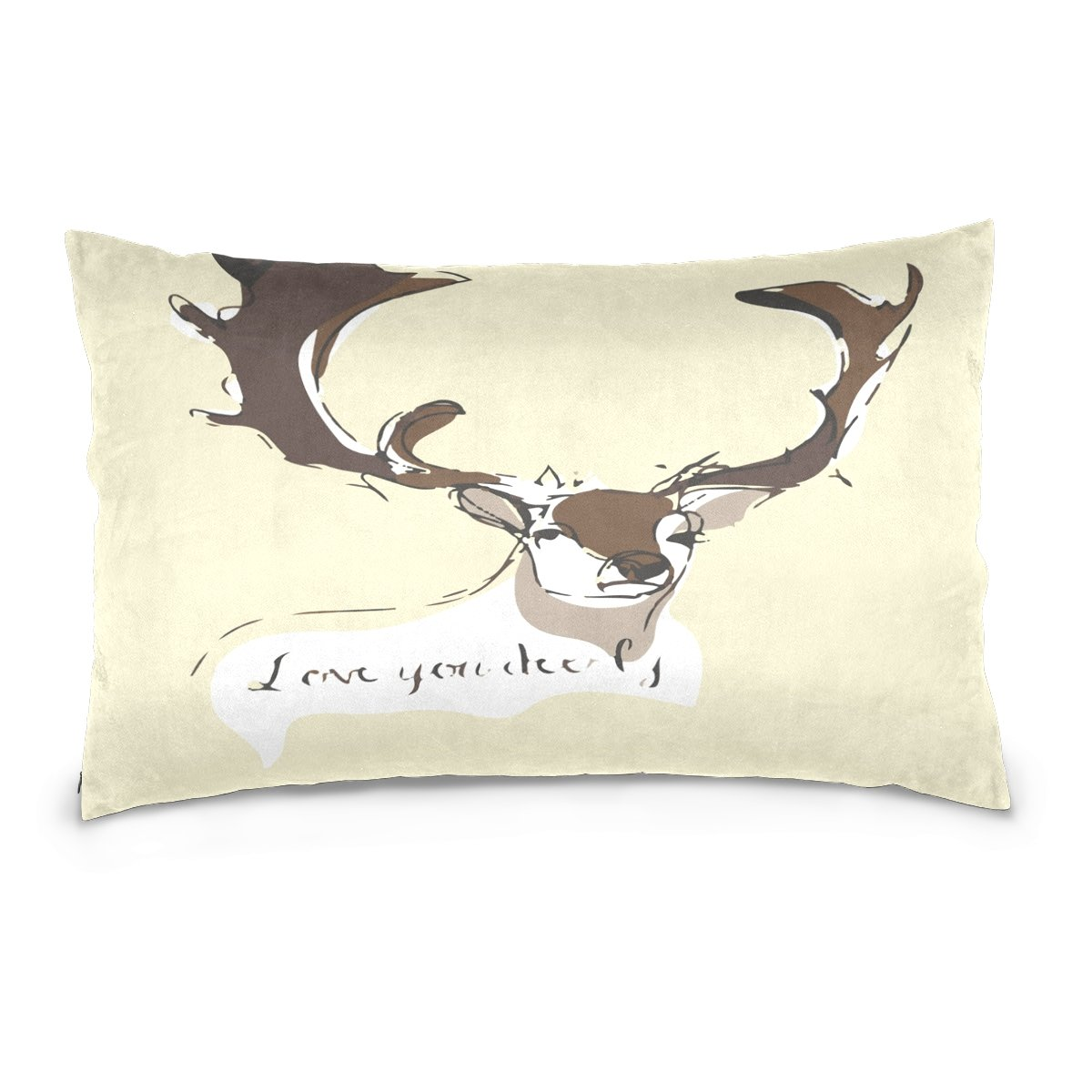 Pillow Covers Pillow Protectors Bed Bug Dust Mite Resistant Standard Pillow Cases Cotton Sateen Allergy Proof Soft Quality Covers with Animal Elk Print for Bedding