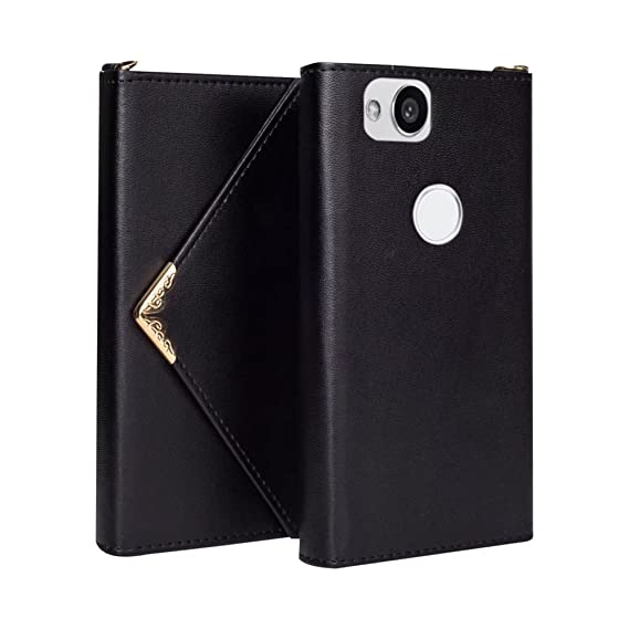low priced 5cc12 70c3f Google Pixel 2 Case,Hsiaofe PU Leather Magnetic Closure Envelope Wallet  Flip Protective Cover Case Credit Card Holders Women Handbag with Wrist  Strap ...