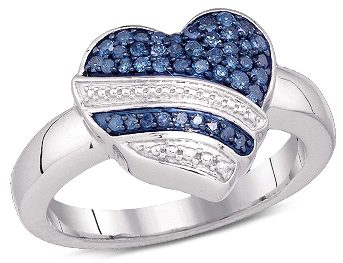 e91612c2ea80a1 1/3 Carat (ctw I2-I3) Blue and White Diamond Heart Promise Ring in 10K  White Gold: Amazon.ca: Jewelry