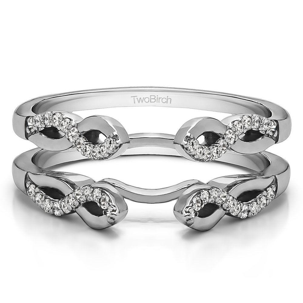 TwoBirch Infinity Designed Wedding Ring Enhancer with 0.22 carats of Cubic Zirconia in Sterling Silver