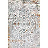 bohemian living room Decomall Vienna Modern Distressed Vintage Watercolor Abstract Bohemian Persian Shabby Chic Area Rug for Living Room, Bedroom, 8x10 ft, Grey Blue