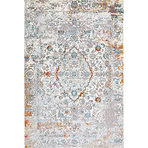 Decomall Vienna Modern Distressed Vintage Watercolor Abstract Bohemian Persian Shabby Chic Area Rug for Living Room, Bedroom, 8x10 ft, Grey Blue (Modern Rugs For Living Room Color)