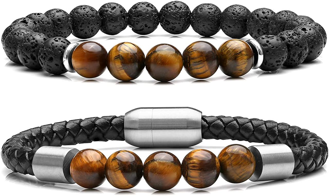 Jovivi 2 Pcs Bead Bracelet for Men Women Lava Rock Essential Oil Diffuser Bracelet Black Leather Natural Stone Beaded Bracelet Set Stainless Steel Cuff Bangle Adjustable
