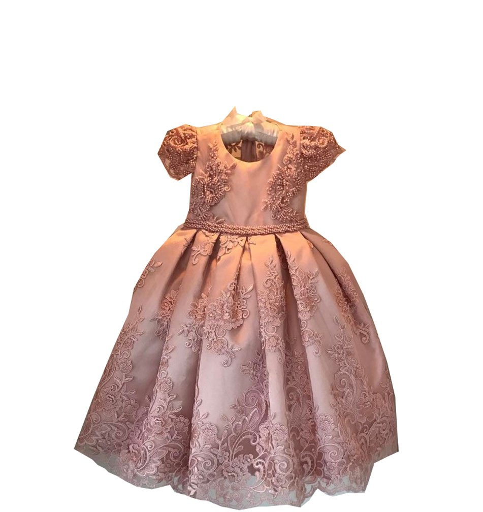 Kelaixiang Blush Satin Princess Flower Girl Dress Gown (12) by Kelaixiang