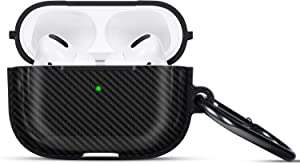 Acestar Airpods Pro Case Carbon Fiber Texture for Airpods Pro 2019,Ultra Slim Shockproof Case for Apple Earbuds Airpods Pro 3,Protective Cover for Apple Airpods Pro [Visible Front LED] (Black)
