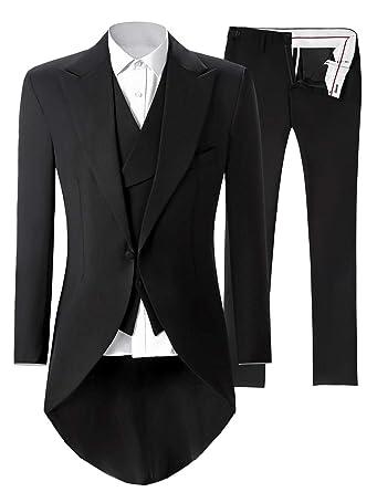 2973e319865 Lilis Mens Premium Tail Tuexdo 3 Pieces Suit Tailcoat Jacket Tux Vest &  Trousers Black