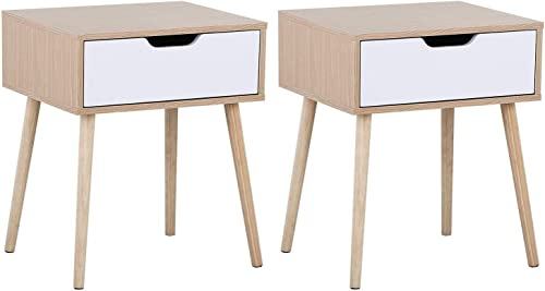 Yaheetech Mid Century Bedside Table Nightstand for Bedroom – Sofa Side End Tables with Storage Drawer Wood Legs, 19L x 16W x 22.5H Inch, Set of 2