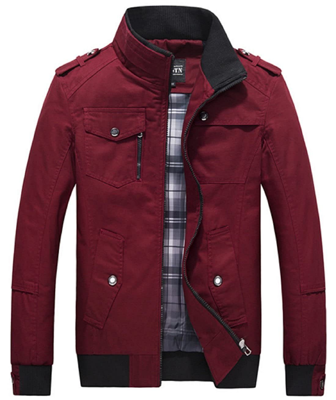 Olrek Men's Autumn and Fall Stand Colllar Outerwear Jacket Coat tgd275