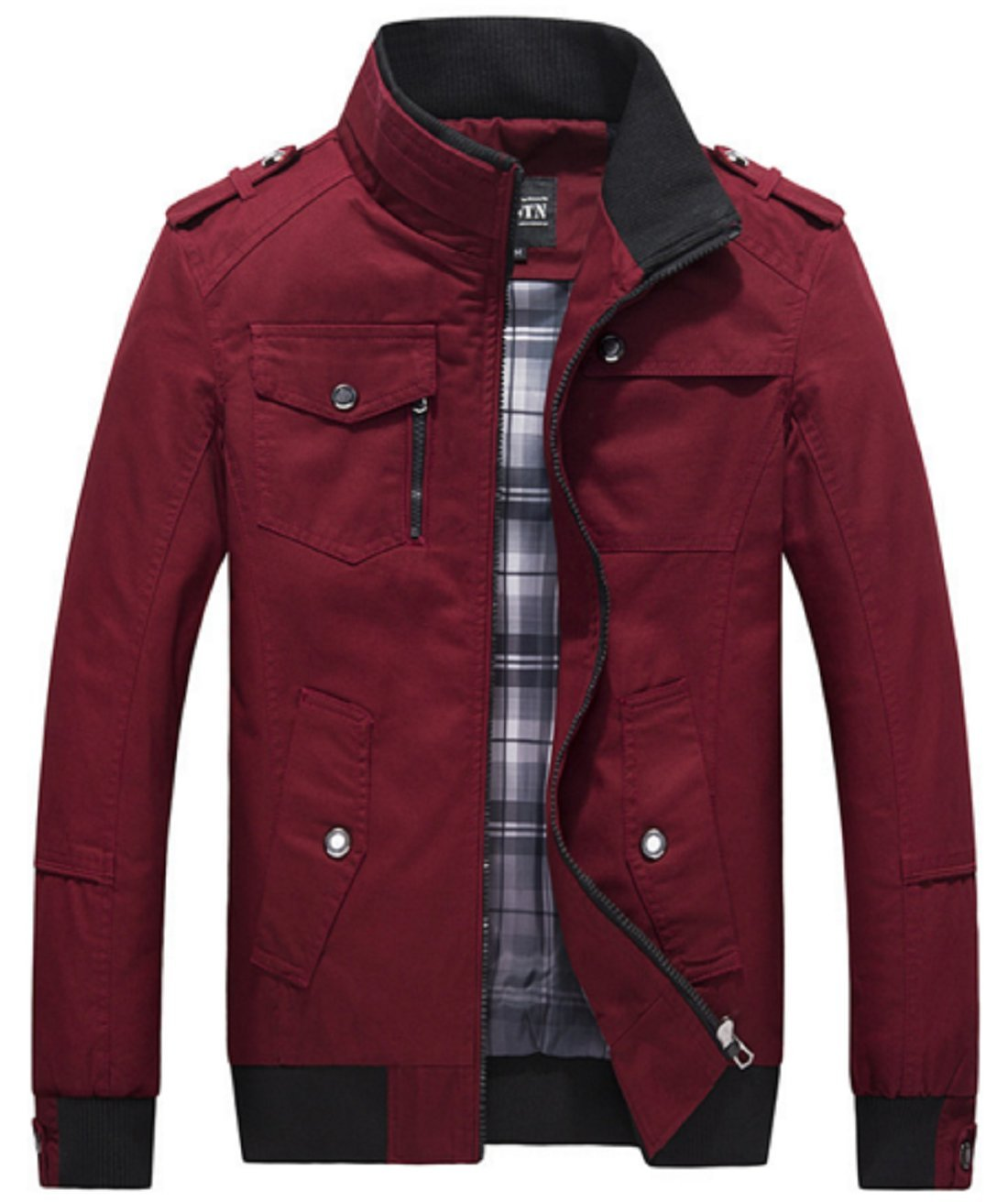 Olrek Men's Autumn and Fall Stand Colllar Outerwear Jacket Coat(Red,X-Small)