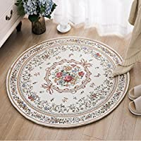 USTIDE Country Style Soft Cotton Rugs Washable Rose Design Throw Rugs Round Floral Floor Rugs for Bedroom 31.5x31.5
