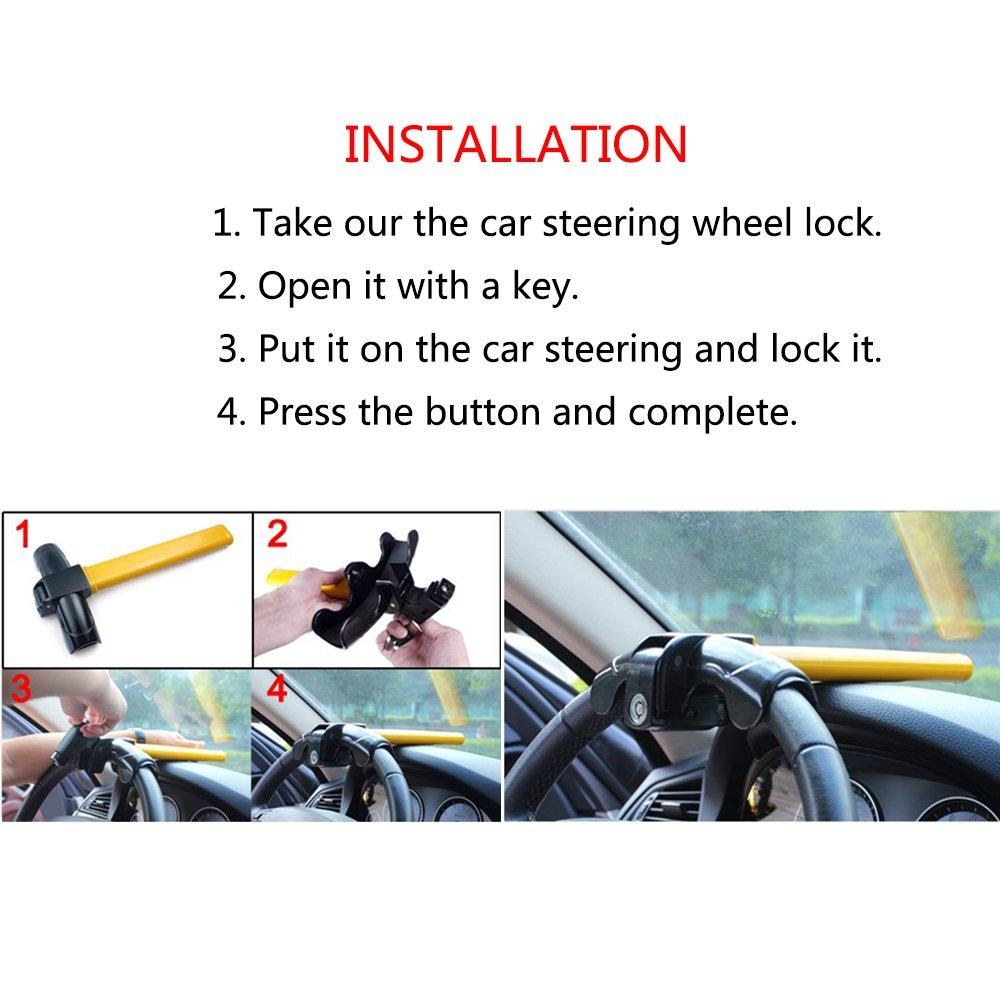 Car Steering Wheel Lock,POSSBAY Universal Auto Anti Theft Security Rotary Steering Wheel Lock with Keys