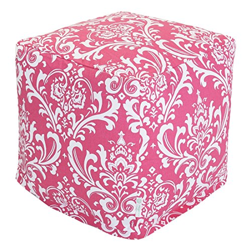 Majestic Home Goods Hot Pink and White French Quarter Cube, Small (A Ottoman Quarter With Chair And)