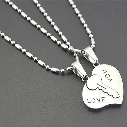 a9e5d6509f Amazon.com: Sale Set Pendant Necklace Engrave Matching Hearts Key I ...
