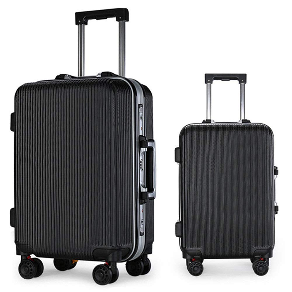 スーツケース 組込みスーツ旅行荷物トロリースーツケースハードシェル軽量ポータブルコラムサイレントローテーター多方向航空機 週末にスーツケースを運ぶ (色 : ブラック, サイズ : 20in+24in) B07SY7PR5Z