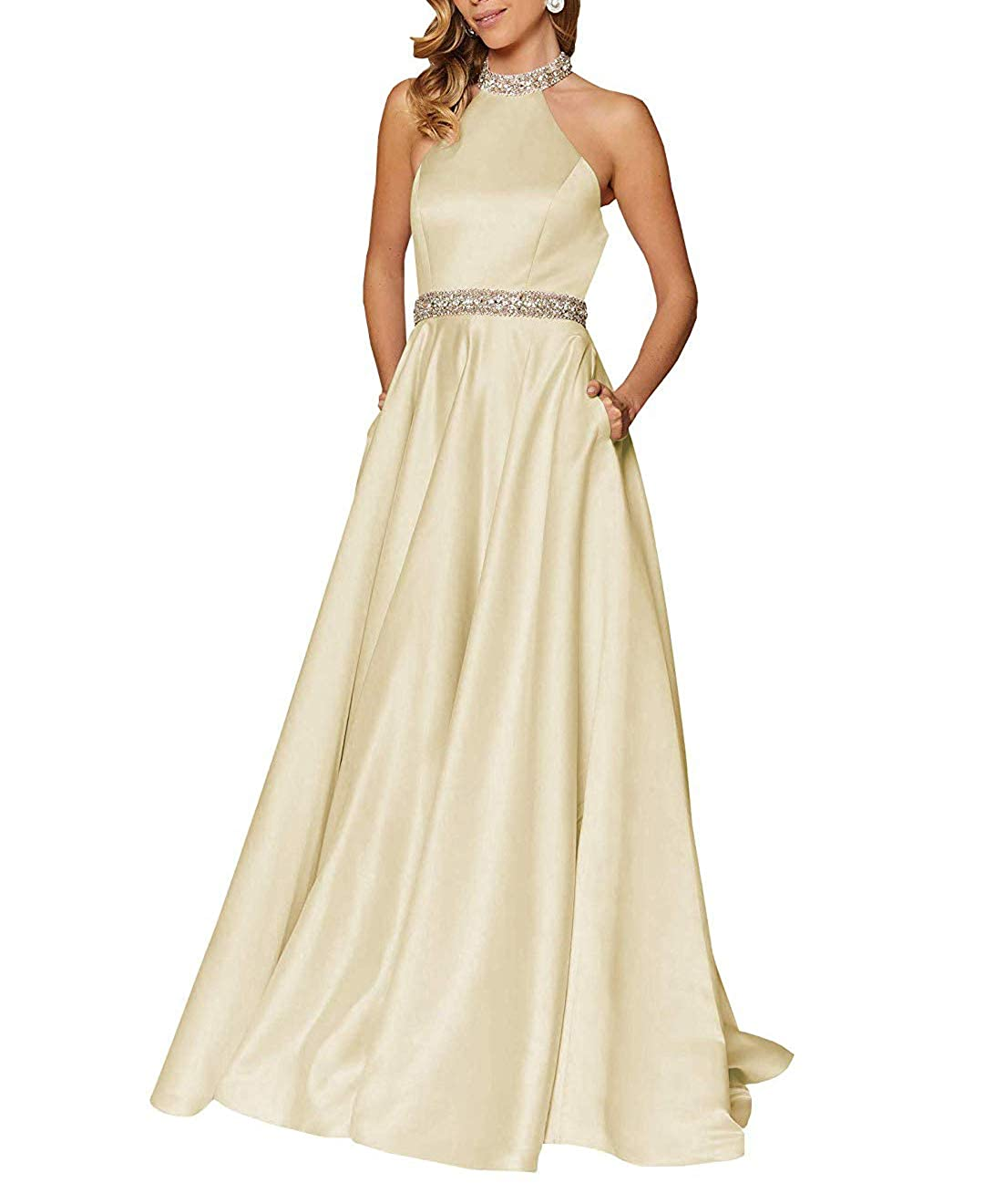 gold RTTUTED Satin Beaded Long Prom Gown with Pockets for Formal Wedding Dress Evening