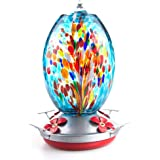 Muse Garden Hummingbird Feeder for Outdoors, Hand Blown Glass, 25 Ounces, Containing Ant Moat, Fireworks