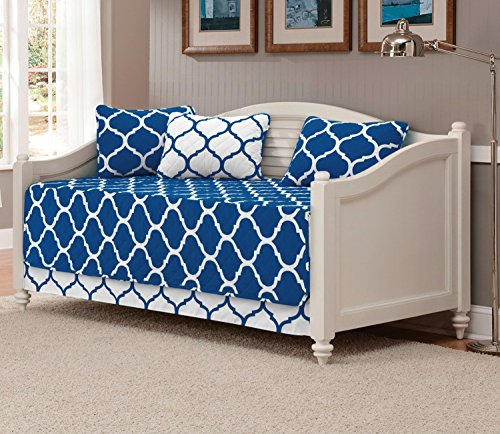 Mk Collection 5pc Modern Elegant Reversible Bedspread Daybed Cover Set Geometric Contemporary Pattern Dark Blue White Quilted New (Bedding Sets Daybeds)