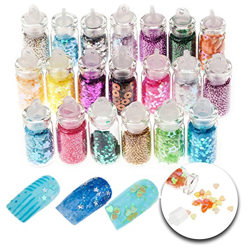 3D Nail Art Manicure Designs Set of 20 Bottles With Colorful Glitters Sparkly Sparkling Decorations In Many Different Colors