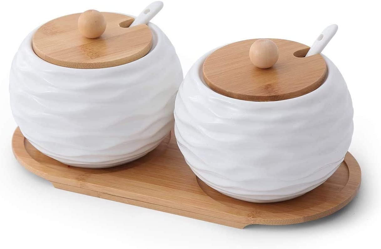 2 Pack 20 OZ Large Size Porcelain Condiment Pots Sugar Jar Bowls with Spoon and Bamboo Lid, Ceramic Seasoning Boxes for Home and Kitchen, in White Round Wave
