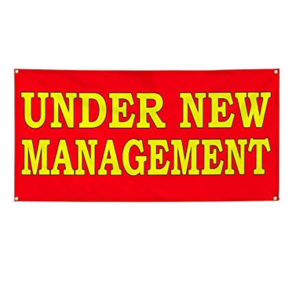 Under New Ownership Red 13 Oz Vinyl Banner Sign With Grommets