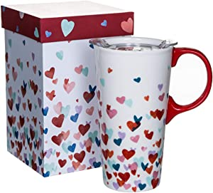 Topadorn Tall Ceramic Travel Mug 17 oz. Sealed Lid, Valentine