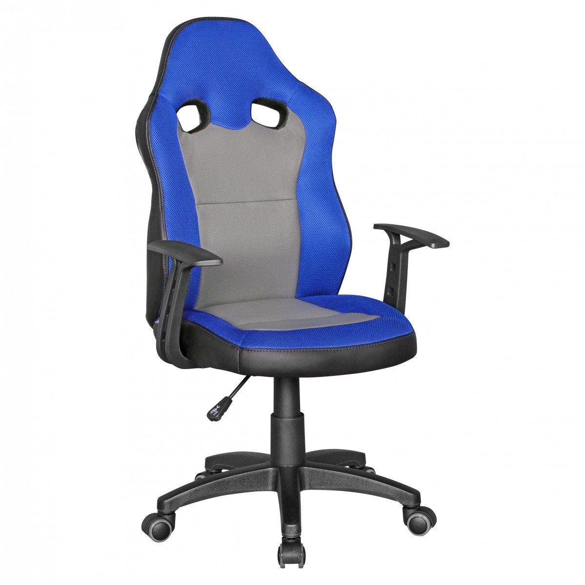 Idimex Chaise de bureau SPEEDY Bleu-gris pour enfants de 8 avec dossier et roulettes jeunesse Chaise sols durs