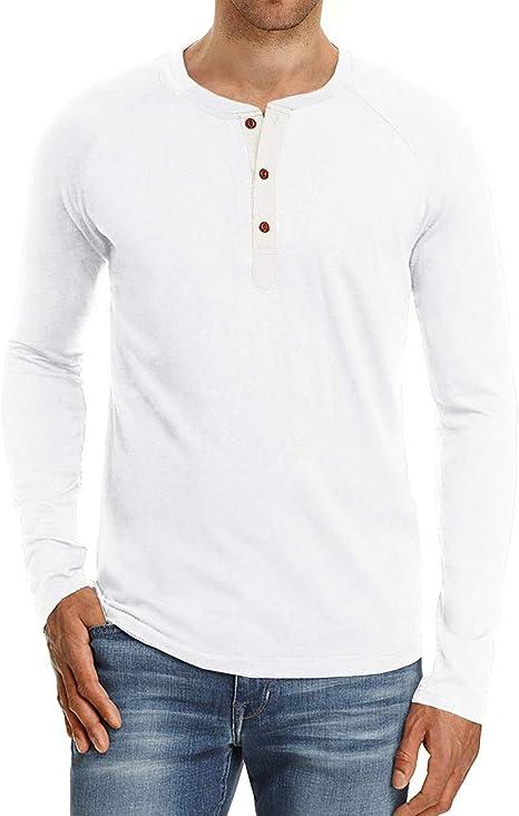 CELANDA Henley T-Shirt Homme Manches Longue
