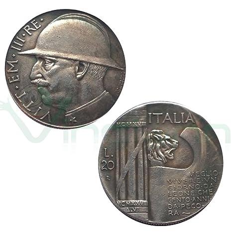 eaf5bbb48d Moneta collezione 20 Lire Italia 1928 Re Vittorio Emanuele III LEONE  littorio