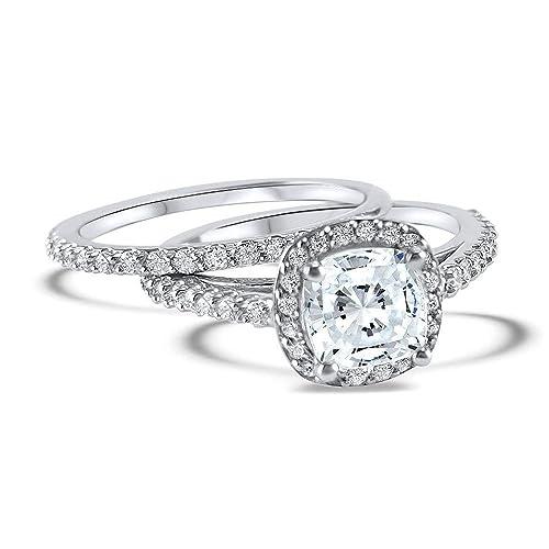 Amazon Com Cushion Cut Halo Diamond And Moissanite Wedding Set 14k