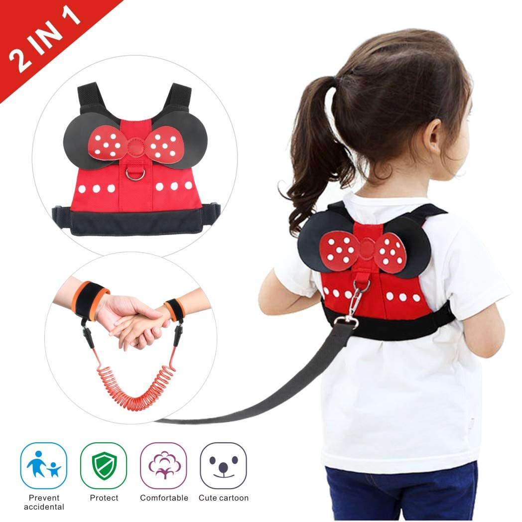 Idefair Kids Leash and Wrist Link Set, Toddler Anti Lost Safety Harness Cute Child Walking Leash for Boys, Girls to Disneyland, Mall or Zoo (Red)