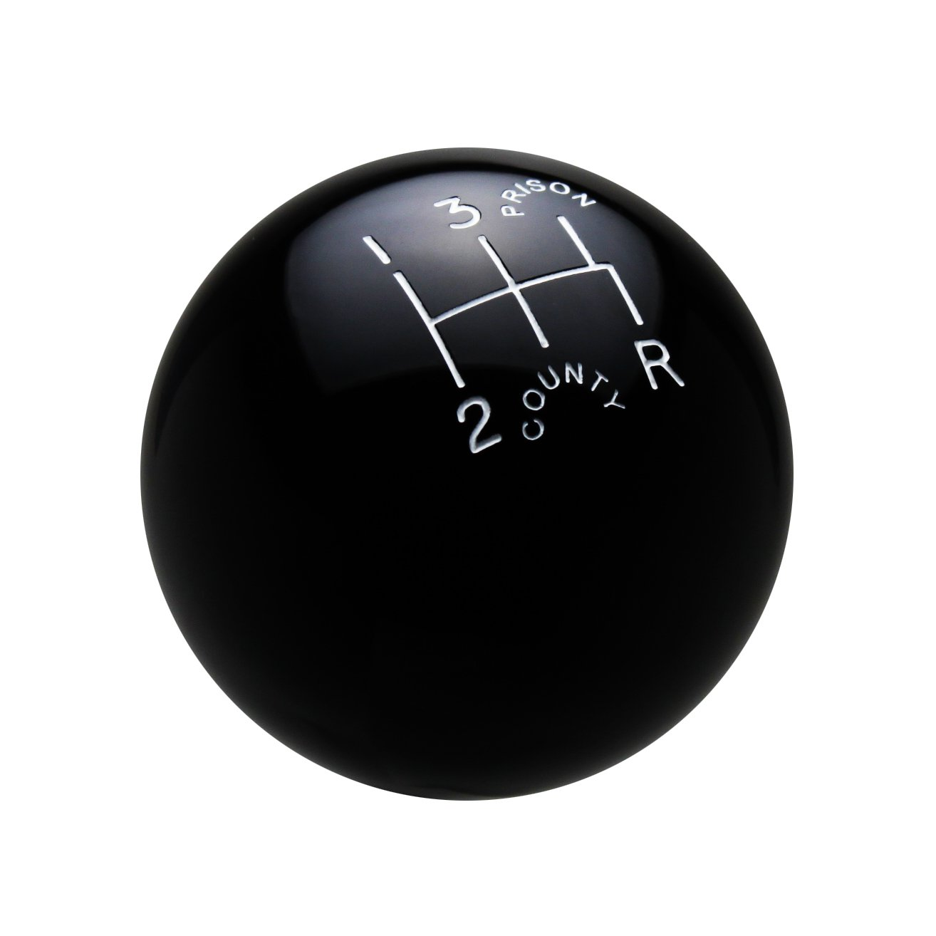 Speed Dawg SK501-CPW-5RDR Traditional Series Black/White 'County Prison' 5-Speed Reverse Lower Right Shift Knob