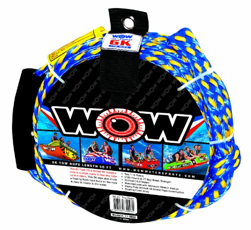 WOW World of Watersports, 11-3020, Tow Rope, 60 Feet, 6100 Pounds Break Strength, Floating Foam Buoys