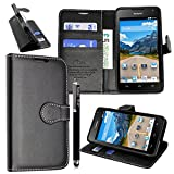 Huawei Y6 Case, Kamal Star® Black Book Premium PU Leather Magnetic Case Cover + Stylus