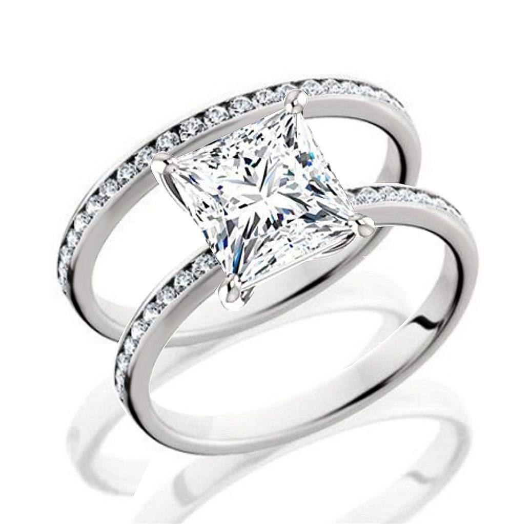 101 Facets Glamorous Princess Cut Simulated Diamond Band Set 925 Silver Carat DBBGSQc7