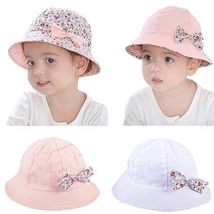 533a7da65c7 Kangkang Baby s Floral Bowknot Cap Sun Bucket Hat (Pink)  Amazon.in  Home    Kitchen