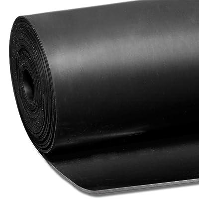 lisse solide en caoutchouc Rouleau de revêtement de sol | Noir | épaisseur de 3mm SBR | | de 1m de large 2m de long | 2mètres carrés | Tapis de sol de sécurité