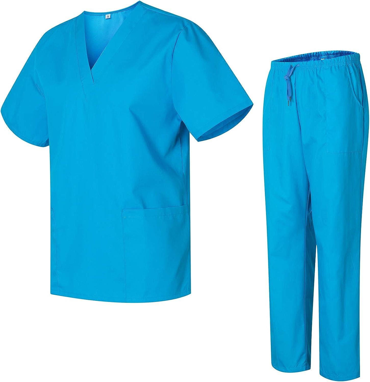 Uniformes Uno M/édico Unisex con Casaca y Pantalones Sanitarios 301-501 Celeste, XXL