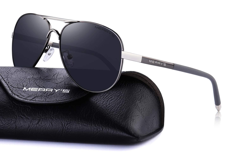 MERRY'S Men's Polarized Driving Sunglasses For Men Unbreakable Frame UV400 S8513 (Gray, 61)