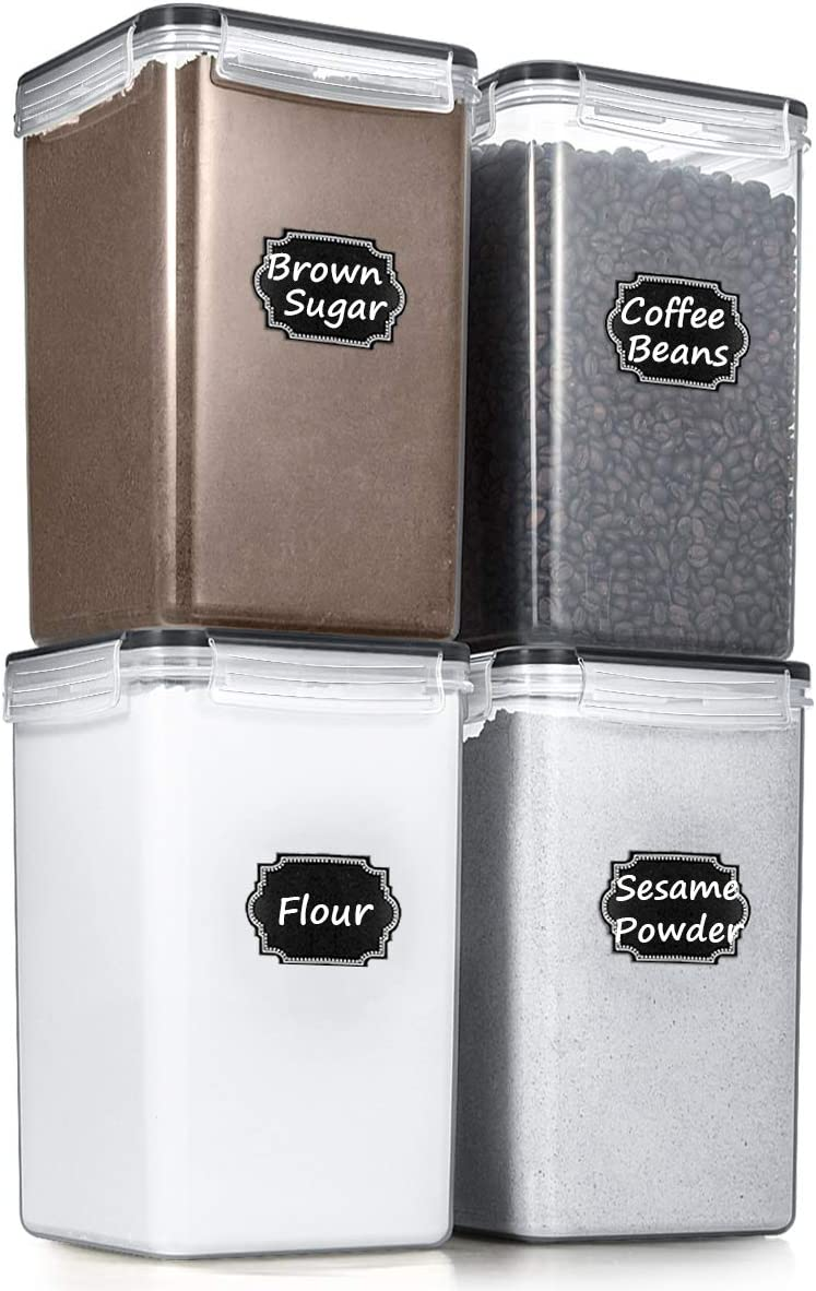 Airtight Food Storage Containers - Wildone BPA Free Cereal & Dry Food Storage Containers Set of 4 [6.5L/ 5.9QT] for Sugar, Flour, Snack, Baking Supplies, with 20 Chalkboard Labels & 1 Marker