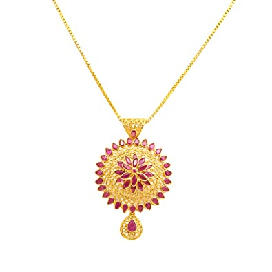 Buy joyalukkas ratna collections 22k 916 yellow gold and ruby joyalukkas ratna collections 22k 916 yellow gold and ruby pendant aloadofball Image collections