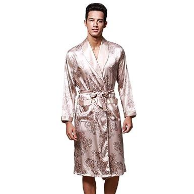Wanyangg Robe De Chambre Pour Homme Longue Luxe Impression