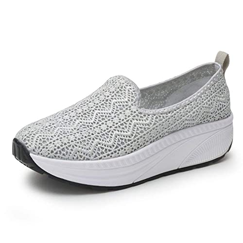 c2bd41a15318d Zhiher Women's Slip-On Breathable Platform Trainers Casual Toning Rocker  Shoes Wedge Walking Running Hiking Sneakers