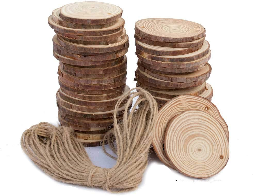 "Natural Wood Slices 50 Pcs 2.4""-2.8"" Craft Wood kit Unfinished Predrilled with Hole Wooden Circles Great for Arts and Crafts Christmas Ornaments DIY Crafts"