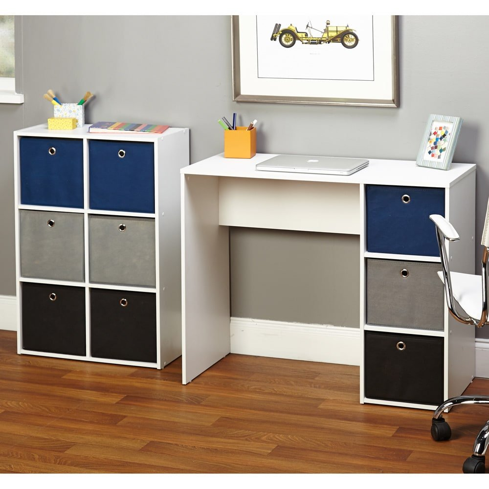 Simple Living Jolie Large Blue Writing Desk and Bookcase Set