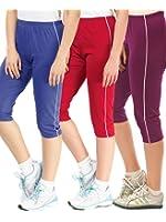 Espresso Women's Casual Cotton 3/4th Capri Pants - A Pack of 3 - Royal Blue/Red/Purple