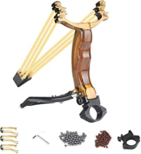Easimgo Professional Slingshot Set, Y Shot Hunting Slingshot for Adults, Wrist Rocket Slingshots, High Velocity Catapult Sling Shot with 100 Ammo Balls and 3 Rubber Bands