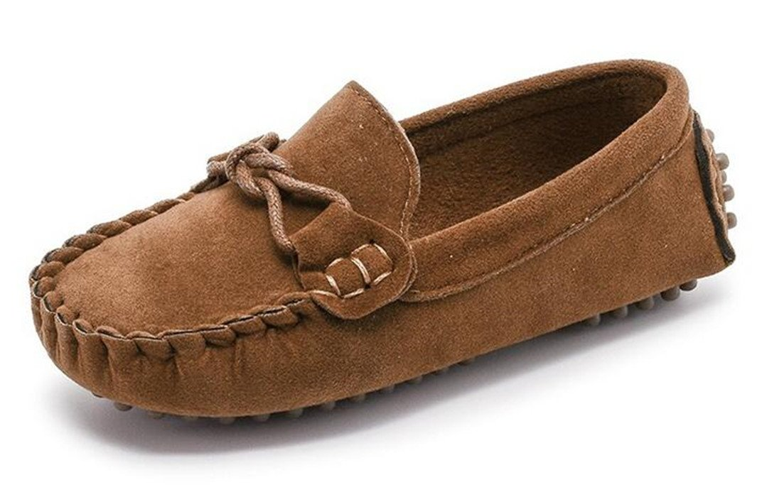 Bumud Girl's Boy's Moccasin Faux Suede Slip-On Loafers Shoes(Toddler/Little Kid) (9 M US Toddler, Brown)