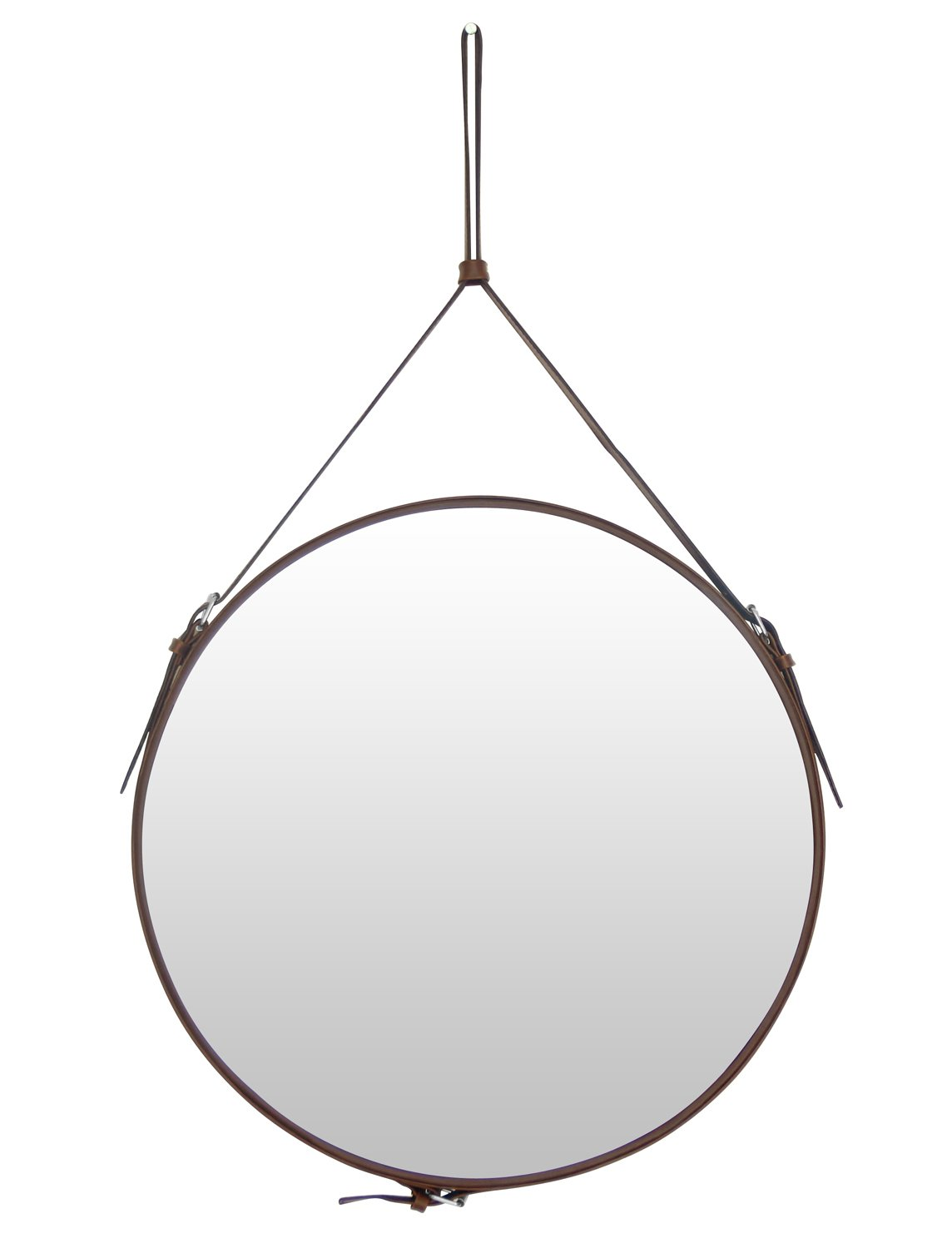 Ms.Box PU Leather Round Wall Mirror Decorative Mirror with Hanging Strap Silver Hardware Hanger/Hooker, Diameter 15.8 inch, Black Jincheng