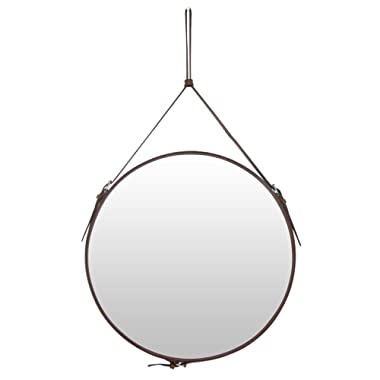 Ms.Box Faux Leather Round Wall Mirror Decorative Mirror with Adjustable Hanging Strap Silver Hardware Hooker, Diameter 19.7 inch, Brown